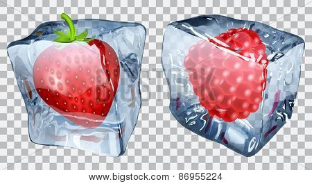 Transparent Ice Cubes With Strawberry And Raspberry