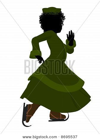 African American Victorian Girl Ice Skating Illustration Silhouette