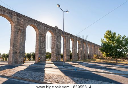 Ancient Roman Aqueduct In Evora
