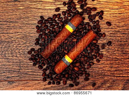 Cuban Cigars And Coffee beans
