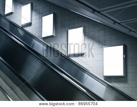 Mock Up Vertical Poster In Subway Station With Escalator