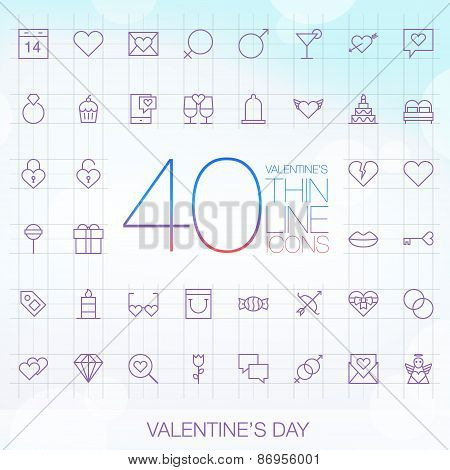 40 Trendy Thin Icons Valentine's Day Set