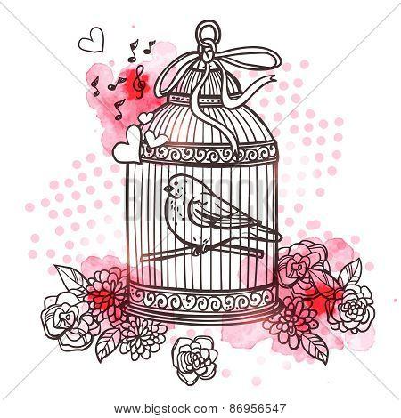 Bird In Cage Illustration