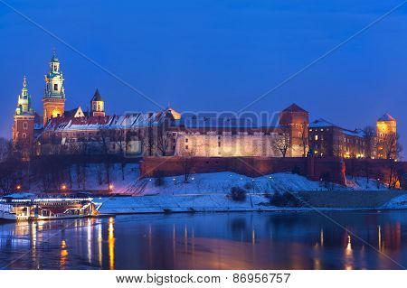 Wawel Castle In Night Illumination In The Winter. Krakow, Poland