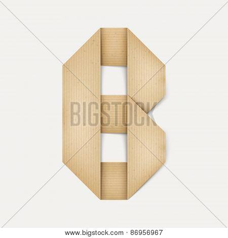 3D Elegant Folded Paper Letter B