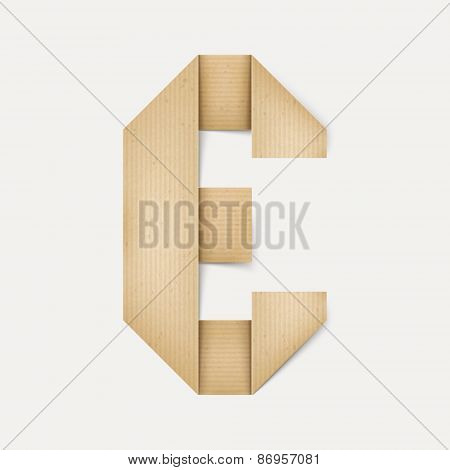 3D Elegant Folded Paper Letter E