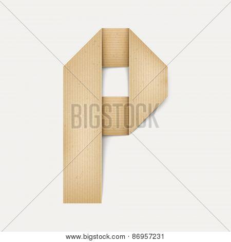 3D Elegant Folded Paper Letter P