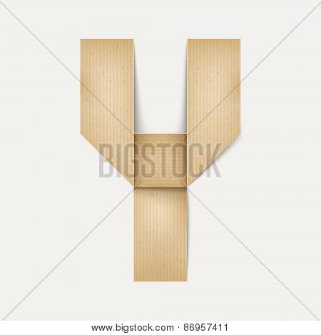 3D Elegant Folded Paper Letter Y