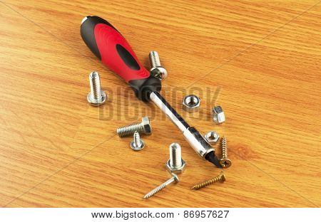 Screwdriver With Different With Nozzles And Bolts