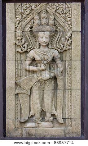 Apsara Dancers Statue Stone Carving, Angkor Wat, Cambodia