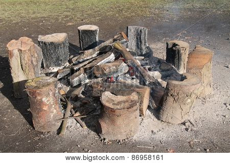 Log Burning Bonfire.