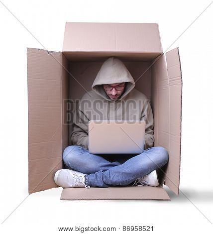 Isolated guy using a pc