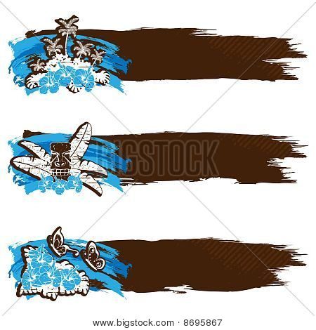 Grungy retro hawaiian banners in cool tones