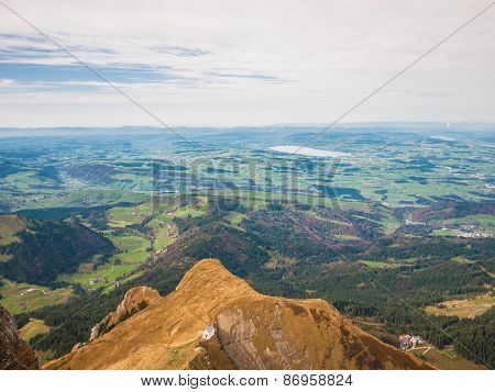 Aerial View Of Lucerne Lake And The Alps Near Pilatus
