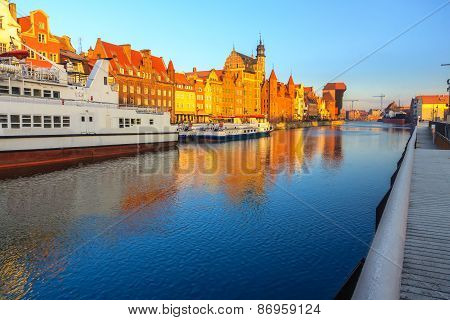 Sunrise View On Gdansk Old Town From Waterfront
