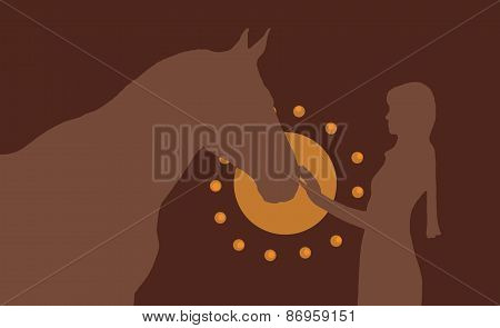 Silhouette Of The Girl And  Horse In Brown