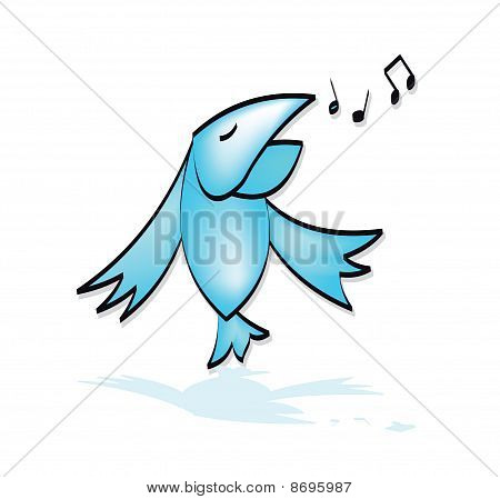 The Bird Sings Vector Drawing