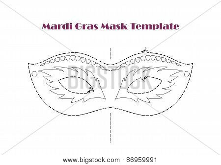 Carnival Mask, Vector Printable Coloring Template