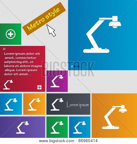 Light, Bulb, Electricity Icon Sign. Metro Style Buttons. Modern Interface Website Buttons With Curso