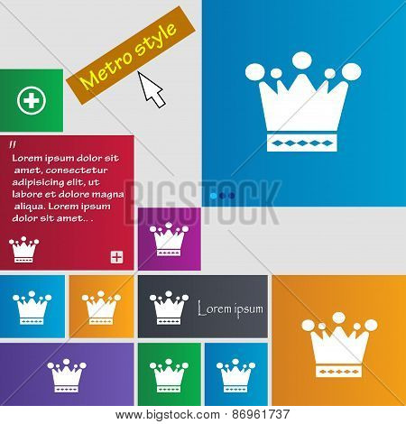 Crown Icon Sign. Metro Style Buttons. Modern Interface Website Buttons With Cursor Pointer. Vector