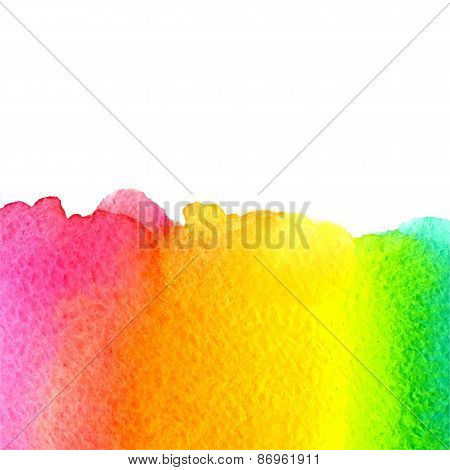 vector watercolor green, yellow, orange, pink background with copy space