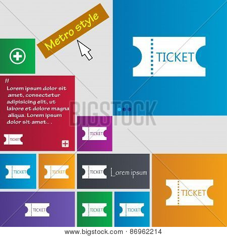 Ticket Icon Sign. Metro Style Buttons. Modern Interface Website Buttons With Cursor Pointer. Vector