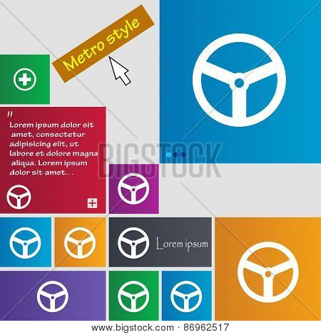 Steering Wheel Icon Sign. Metro Style Buttons. Modern Interface Website Buttons With Cursor Pointer.