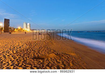 Beach in Barcelona at dawn