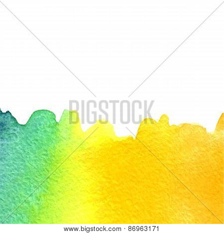 vector watercolor azure, yellow gradient background with copy space