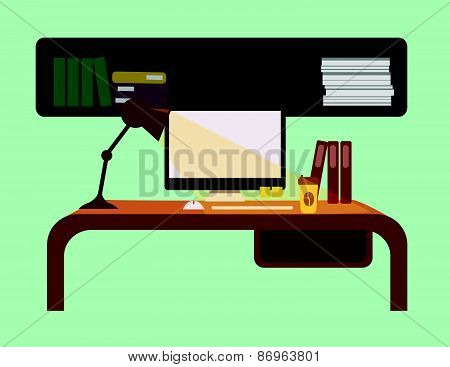 interior of working place. vector