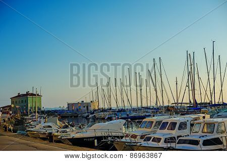 PIRAN, SLOVENIA - 19 JULY 2013: beautiful summer port view with boats in Piran, Slovenia
