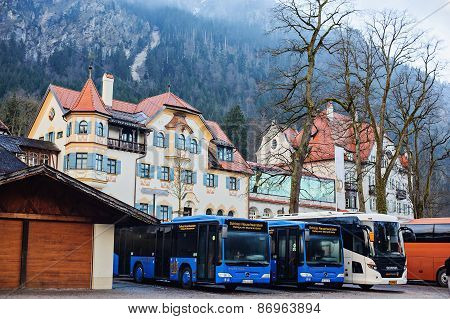 HOHENSCHWANGAU, GERMANY - 14 JANUARY 2014: Bavarian architecture of Hohenschwangau village