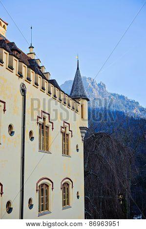 HOHENSCHWANGAU, GERMANY - 14 JANUARY 2014: Hohenschwangau castle wall