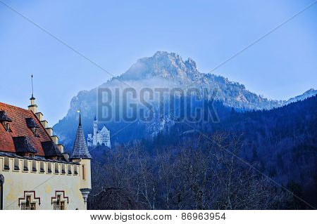 HOHENSCHWANGAU, GERMANY - 14 JANUARY 2014: view to Neuschwanstein Castle from Hohenschwangau castle