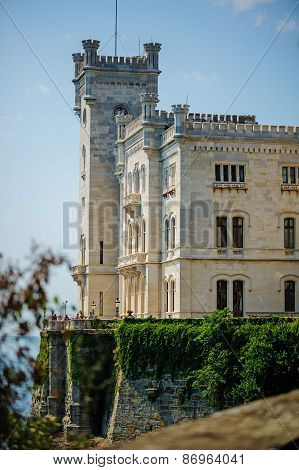 TRIESTE, ITALY - 20 JULY,2013: view to Miramare castle in summer, Trieste, Italy