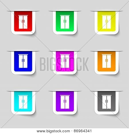 Cupboard Icon Sign. Set Of Multicolored Modern Labels For Your Design. Vector