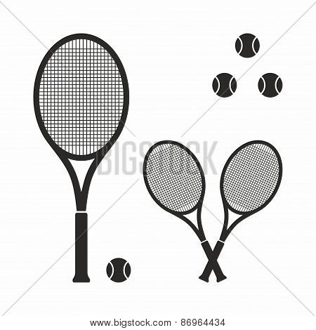 Tennis racket icon set