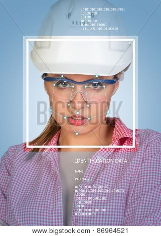 Concept of person identification. Sexy builder in helmet and glasses. Face with lines
