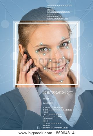 Concept of person identification. Woman using phone, smiling. Face with lines