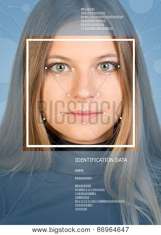 Concept of person identification. Girl face with lines, frame and text