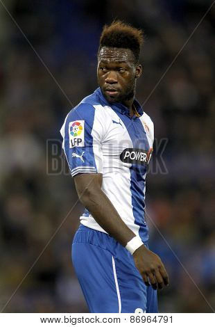 BARCELONA - MARCH, 4: Felipe Caicedo of RCD Espanyol during spanish League match against Athletic Bilbao at the Estadi Cornella on March 4, 2015 in Barcelona, Spain