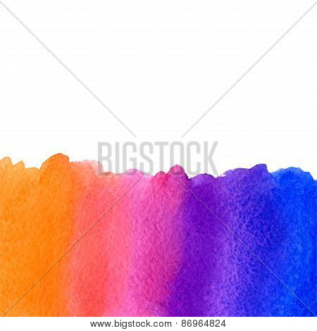 vector watercolor blue, violet, pink and orange gradient background with copy space