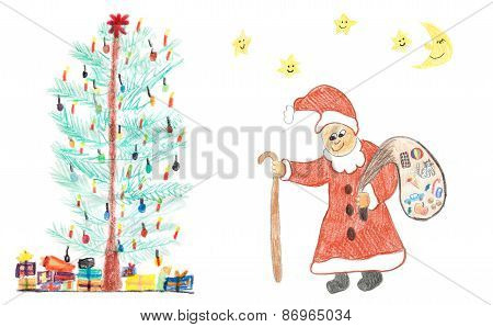 Christmas Tree With Presents And Santa, Childish Crayons Drawing
