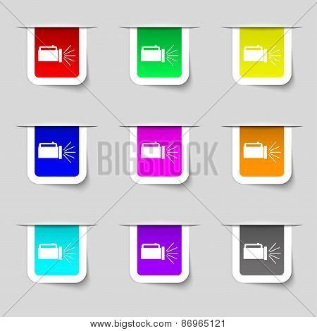 Flashlight Icon Sign. Set Of Multicolored Modern Labels For Your Design. Vector