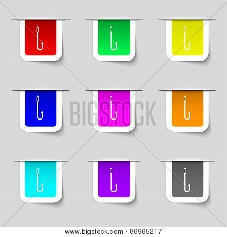Fishing Hook Icon Sign. Set Of Multicolored Modern Labels For Your Design. Vector