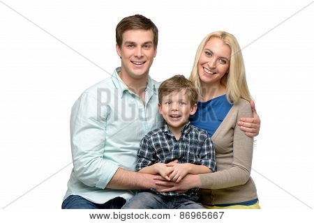Cheerful family of three enjoying time together