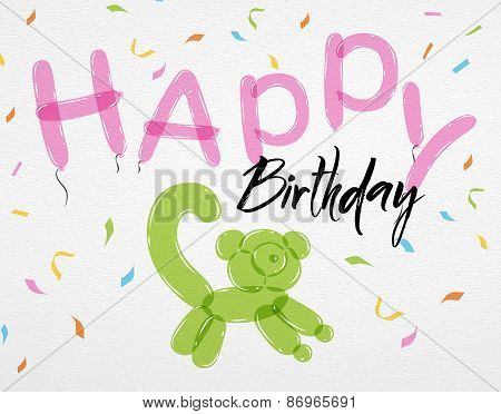 Card Happy Birthday balloons lemur