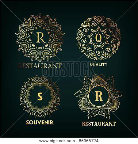 Set of luxury, simple and elegant  monogram designs