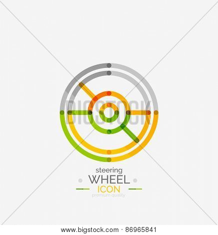 Car steering wheel icon, minimal line design, stamp