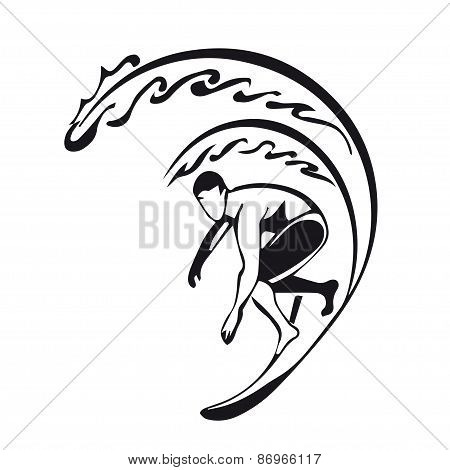 silhouette of a surfer. man.